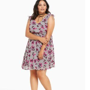 Torrid Floral Print Sleeve Chiffon Skater Dress